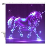 Glass Unicorn Fantasy Purple Shower Curtain
