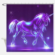 Glass Unicorn Fantasy Purple Shower Curtain
