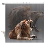 Geometric Lion Shower Curtain