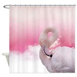 Pink Flamingo And Feathers 2 Shower Curtain