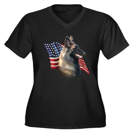 Terv Flag Women's Plus Size V-Neck Dark T-Shirt