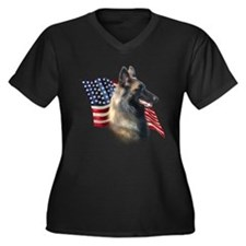 Terv Flag Women's Plus Size V-Neck Dark T-Shirt