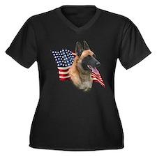 Malinois Flag Women's Plus Size V-Neck Dark T-Shir