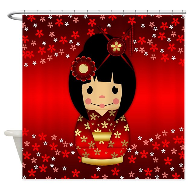 Kokeshi Doll In Red And Gold Shower Curtain By MoonlakeDesigns