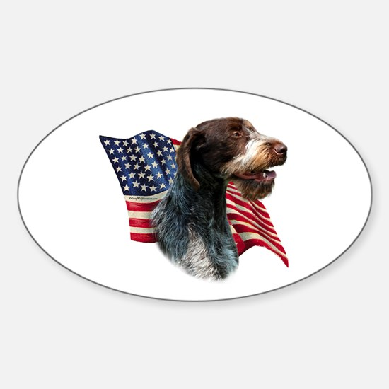 Wirehaired Flag Oval Decal