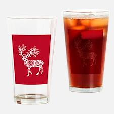White Christmas deer Drinking Glass