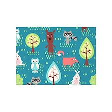 Woodland Animals 5'x7'Area Rug