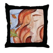 Flame Haired Girl Throw Pillow