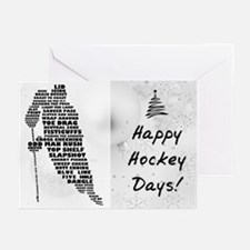 Hockey Player Typography Greeting Cards (Pk of 10)
