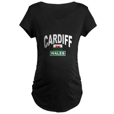 Cardiff Wales Maternity Dark T-Shirt