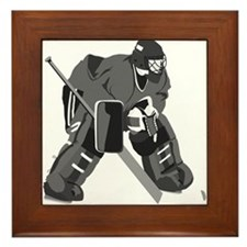 Gray Goalie Hockey Framed Tile