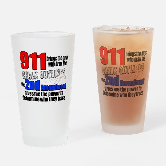 911 Chalk Outlines Drinking Glass