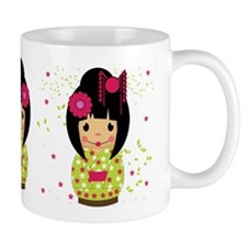 Kokeshi Dolls In Green And Pink Mug Mugs