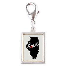 Illinois Love Silver Portrait Charm