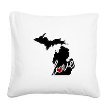 Michigan Love Square Canvas Pillow