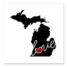 "Michigan Love Square Car Magnet 3"" x 3"""