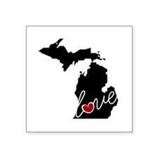 "Michigan Love Square Sticker 3"" x 3"""