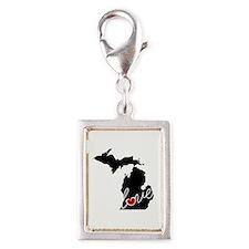 Michigan Love Silver Portrait Charm