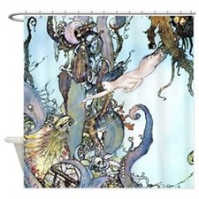 Dulac Mermaid Treasure Shower Curtain