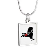 New York Love Silver Square Necklace Necklaces