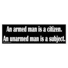 Armed Man Bumper Car Sticker