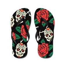 Skulls and Roses Flip Flops