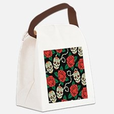 Skulls and Roses Canvas Lunch Bag