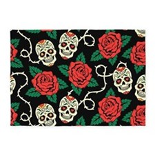 Skulls and Roses 5'x7'Area Rug