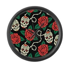 Skulls and Roses Large Wall Clock
