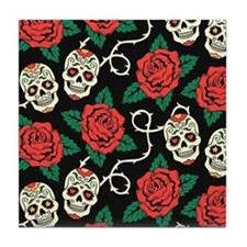 Skulls and Roses Tile Coaster
