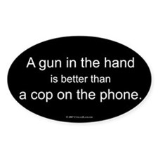 Gun in Hand Oval Decal