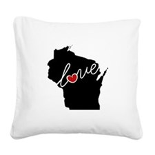 Wisconsin Love Square Canvas Pillow
