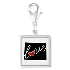 Wyoming Love Silver Square Charm