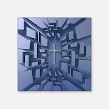 Abstract 3D Christian Cross Sticker