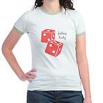Lucky Dice Jr. Ringer T-Shirt - pink dice