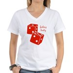 Lucky Dice Women's V-Neck T-Shirt - red dice