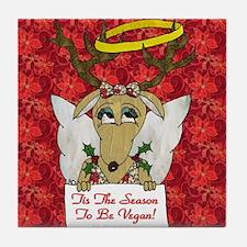 Vegan Reindeer Angel Tile Coaster