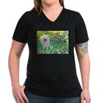 Eskimo Spitz 1 - Irises.png Women's V-Neck Dark T-