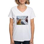 5.5x7.5-Creation-Golden3.png Women's V-Neck T-Shir
