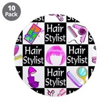 "FOXY HAIR STYLIST 3.5"" Button (10 pack)"