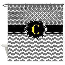 Gray Black Quatrefoil Chevron Monogram Shower Curt