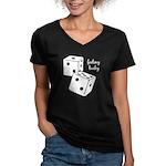 Lucky Dice Women's V-Neck Dark T-Shirt