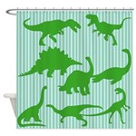 Dinosaurs Green Shower Curtain