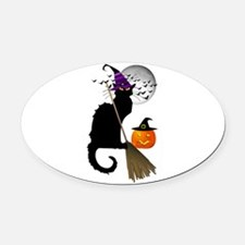 Le Chat Noir - Halloween Witch Oval Car Magnet