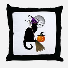 Le Chat Noir - Halloween Witch Throw Pillow