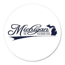 Michigan State of Mine Round Car Magnet