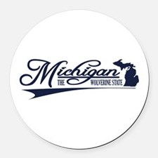 Michigan State of Mine Round Car Magnet