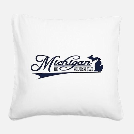 Michigan State of Mine Square Canvas Pillow