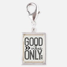 Good Vibes Only Silver Portrait Charm