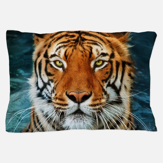 Tiger in Water Photograph Pillow Case